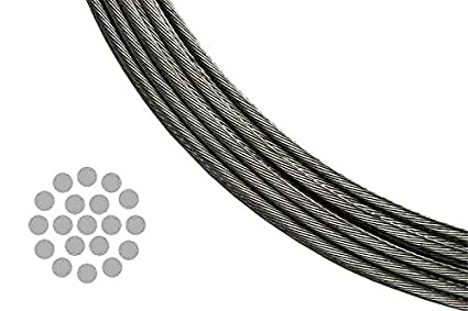 Amazon.com: T 316 Stainless Steel Metal Wire Rope Cable for Deck ...