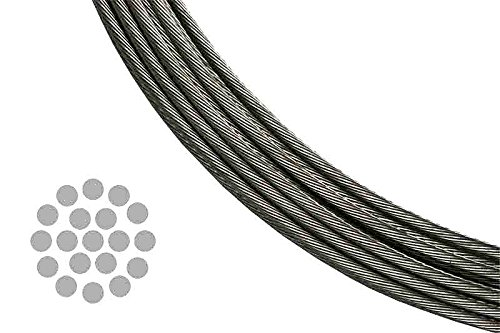 T 316 Stainless Steel Metal Wire Rope Cable for Deck Railing 1/8 Inch 1 X 19 Twist (A Bundle of 100 Feet) (100' Twist)