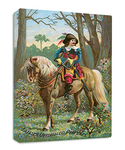 (Rider Vintage Perfume Streched Canvas Wrap Frame Print Wall Décor - Full Border, 24