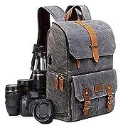 UBAYMAX Kamerarucksack Kameratasche, Wasserdicht Canvas Leinenstoff und Echt-Leder DSLR Rucksack, 15,6 Zoll Laptop…