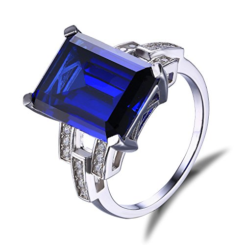 Emerald Cut Blue Sapphire (Jewelrypalace Women's 925 Sterling Silver Ring Emerald Cut 9.64ct Created Blue Sapphire Size)