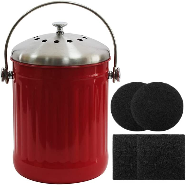 Kitchen Compost Bin, 1.3 Gallon Indoor Compost Pail with Charcoal Filter Food Waste Compost Container in-Home Recycling Bin (Color-Red)