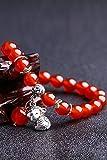 Generic Natural red agate crystal file hand chain bracelet bangle wristband zodiac animal year monkey lovers women girls lady fashion jewelry accessories, men's bracelets