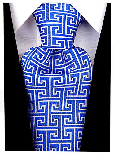 Geometric Greek Key Ties for Men - Woven Necktie - Blue w/Silver