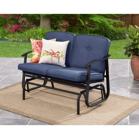 Outdoor Mainstays Belden Park Loveseat Glider with Cushion - Navy ()