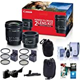 Canon Portrait Travel 2 Lens Kit Ef 50mm F18 Stm Lens Ef s 10 18mm F45 56 Is Stm Lens Bundle With 49mm67mm Filter Kits Flex Lens Shade 2x Lens Pouches Cleaning Kit And More