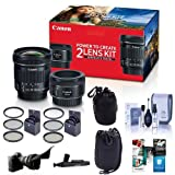 Canon Portrait & Travel 2 Lens Kit - EF 50mm f/1.8 STM Lens & EF-S 10-18mm f/4.5-5.6 IS STM Lens - Bundle with 49mm/67mm Filter Kits, Flex Lens Shade, 2x Lens Pouches, Cleaning Kit and More