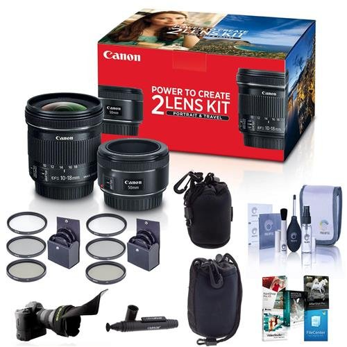 Canon Portrait & Travel 2 Lens Kit - EF 50mm f/1.8 STM Lens & EF-S 10-18mm f/4.5-5.6 IS STM Lens - Bundle with 49mm/67mm Filter Kits, Flex Lens Shade, 2x Lens Pouches, Cleaning Kit and More by Canon