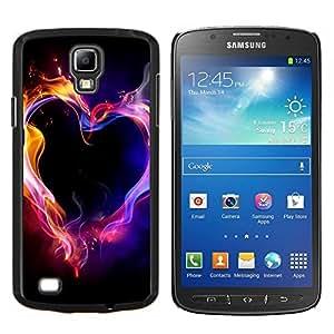 EJOOY---Cubierta de la caja de protección para la piel dura ** Samsung Galaxy S4 Active i9295 ** --Llamas de Neón Negro Amor Pasión
