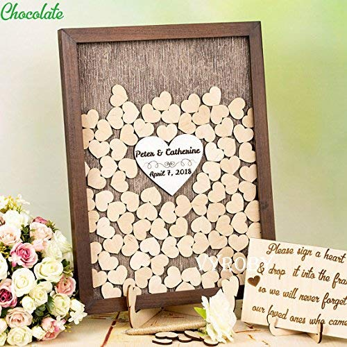Guestbook MarthaFox Wedding Shadow Box Guest Book Brown Wedding idea Alternative Guest Book Wedding Memory Book Frame Guest Book Rustic Heart Drop Box N646344 -