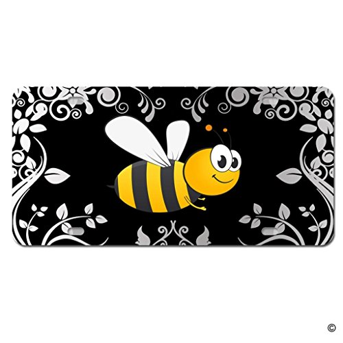 MsMr License Plate Cover With 4 Holes Bumble Bee Metal License Plate Cover Decorative Car License Plate Auto Tag Sign 6x12 Inch