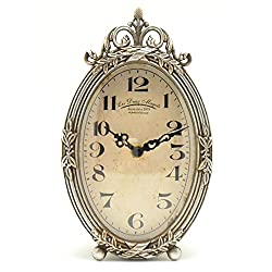 Victorian Style Detailed Silver Metal Table Clock, Mantel Clock