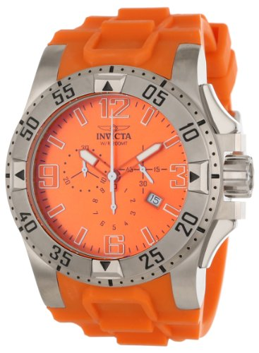 Invicta Men's 1410 Excursion Reserve Chronograph Orange Dial Orange Polyurethane Watch