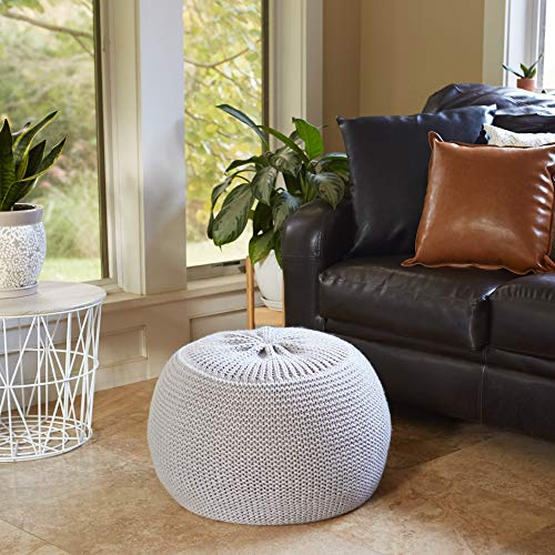 Sunsnap Pouf Ottoman Foot Rest Chair - Light Gray Soft Chunky Knit Cover - Boho Floor Pouffe Ottomans Cushion - Round Accent Poufs Seat for Living Room Bedroom Dorm Nursery Meditation [NOT Stuffed]
