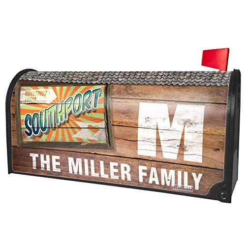NEONBLOND Custom Mailbox Cover Greetings from Southport, Vintage Postcard -