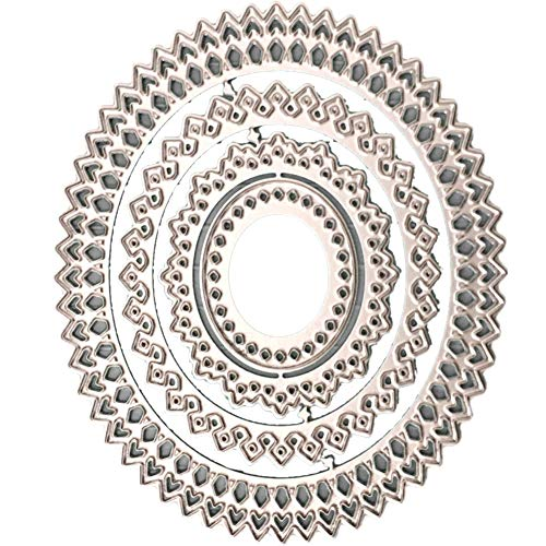 - StaunchWea Lace Oval Frame Cutting Dies Stencil for DIY Scrapbooking Embossing Album Paper Card Silver