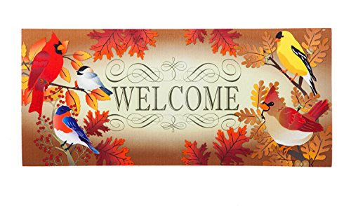 Evergreen Autumn Song Birds Decorative Mat Insert, 10 x 22 inches
