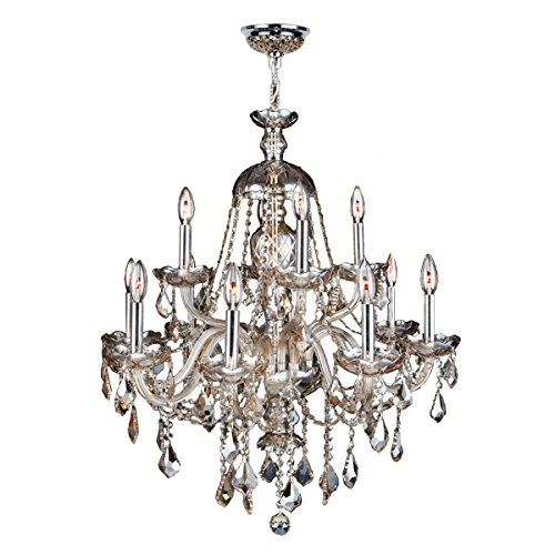 Worldwide Lighting Provence Collection 12 Light Chrome Finish and Golden Teak Crystal Chandelier 28