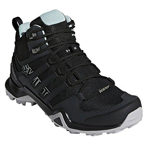 (adidas outdoor Terrex Swift R2 Mid GTX Womens Hiking Boots, Black/Black/Ash Green, 9 )