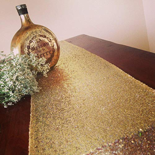 B-COOL Sequin Table Runners Gold 3mm Shiny Round Sequins 14