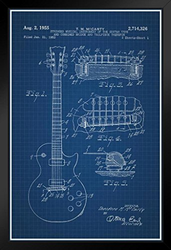 Electric Guitar 1955 Official Patent Blueprint Framed Poster 14x20 inch
