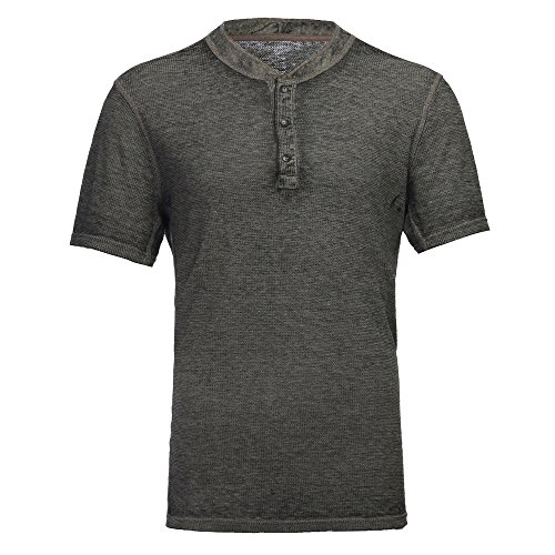 (Men's Casual Short Sleeve Lightweight Burnout Thermal and Heather Henley Tee Green)