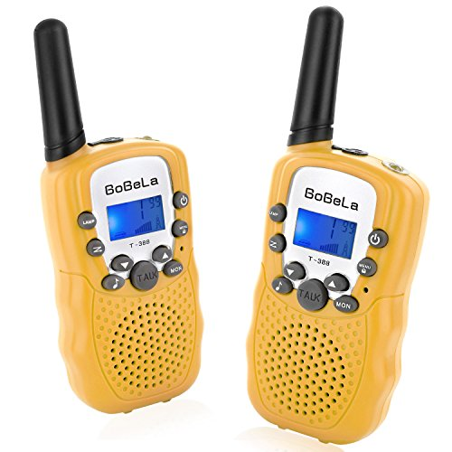 Bobela T388 Best Durable Walkie Talkie as Halloween Gift for Children Seniors / Mini Radio Toys for Kids Adventure / 3 - 5Km Waki Taki with Flashlight Vox for Outdoor Party Riding ( Yellow 1 Pair )