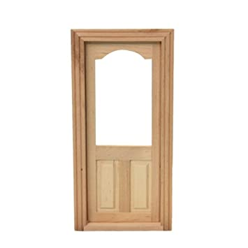 Zeroyoyo DIY 1:12 Scale Dollhouse Miniatures Furniture Arched Top 2 Panel Interior  Door Fixture