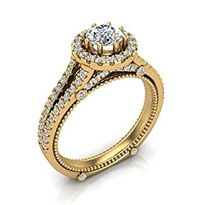 1.04 ct tw Vintage Look Split Shank Diamond Engagement Ring 14K Yellow Gold (Ring Size 7)