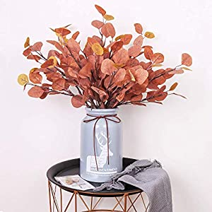 YUYAO Artificial Plants Silver Dollar Eucalyptus Leaves 6Pcs Leaf Silk Artificial Greenery Stems Fake Plants Leaves for Home Wedding Party Decoration (Maple Red) 4
