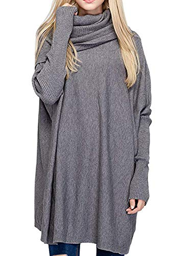 (BOBIBI Women Oversized Cowl Neck Sweaters Long Sleeve Loose Fit Knitted Pullover,Gray)