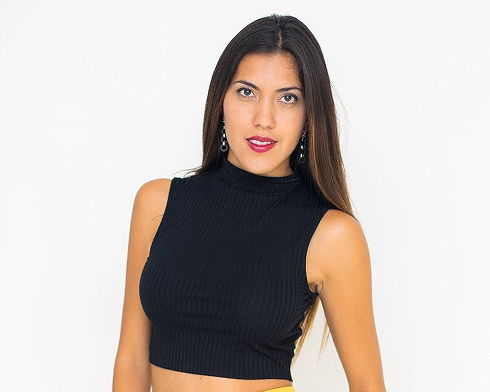 cac281217707 Womens Crop Top Polo Turtle Neck Sleeveless Tshirt Cropped (Medium ...