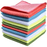 """Sinland 5 color assorted Microfiber Dish Cloth Best Kitchen Cloths Cleaning Cloths With Poly Scour Side 12""""x12"""" 5 Pack (Pinkx2+bluex2+whitex2+yellowx2+greenx2)"""