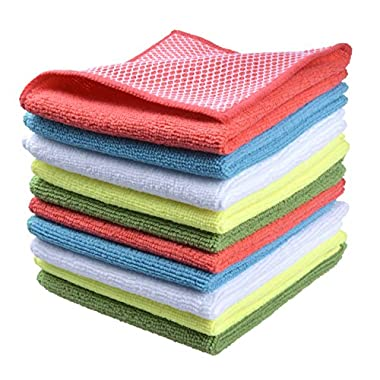 Sinland wholesale 5 color assorted Microfiber Dish Cloth Best Kitchen Cloths Cleaning Cloths With Poly Scour Side 12 x12  10 Pack