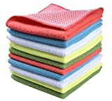 ": Sinland Microfiber Dish Cloth Best Kitchen Cloths Cleaning Cloths With Poly Scour Side 12""x12"" 10 Pack wholesale 5 color assorted"
