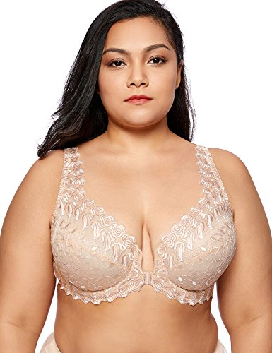 (DELIMIRA Women's Plus Size Support Unlined Embroidered Lace Front Close Underwired Bra Beige 38E)