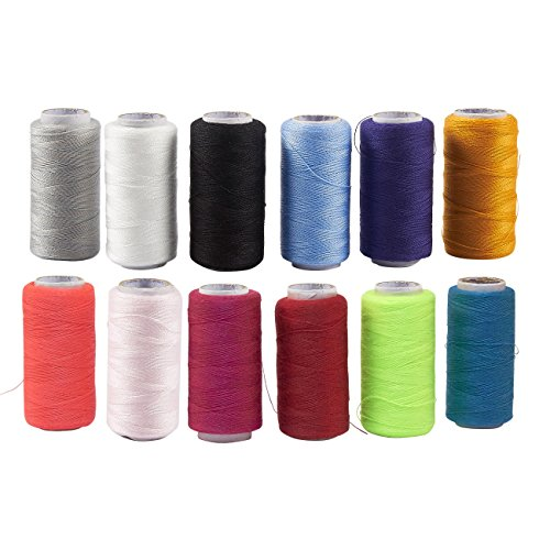 Sewing Thread Spools - 12-Count Polyester Threads for Sewing Machine and Hand Sewing, 402 Thread Size, Assorted Colors, 500-Yard Each ()