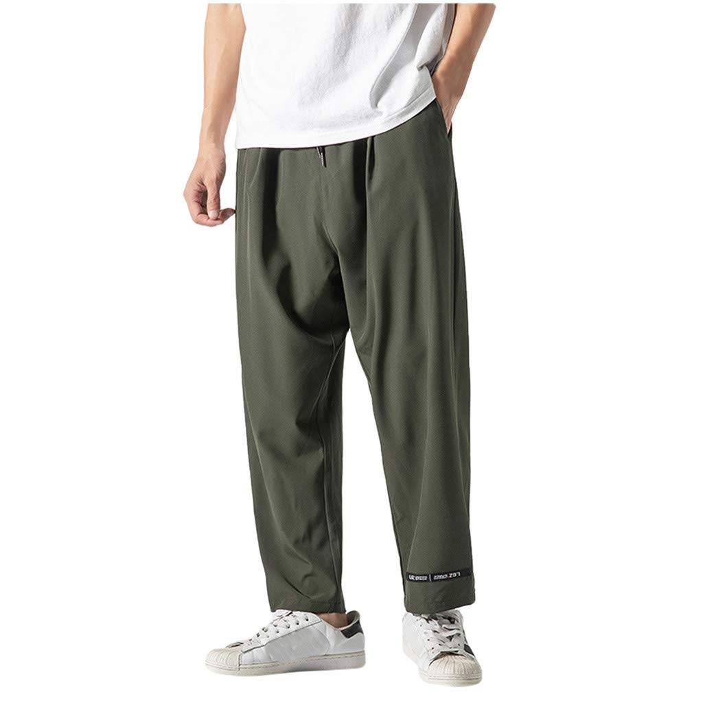 Mens Straight Sweatpants | Men Relax Loose Fit Pure Color Active Running Jogger Track Pants | Causal Drawstring Waist Trousers