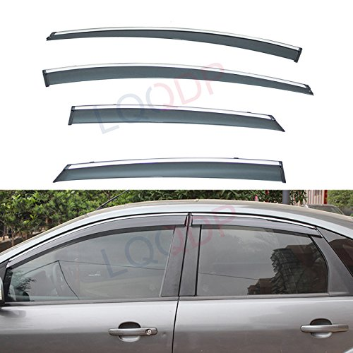 (LQQDP 4pcs Smoke Tint With Chrome Trim Outside Mount Tape On/Clip On Style PVC Sun Rain Guard Vent Shade Window Visors Fit 12-18 Ford Focus)