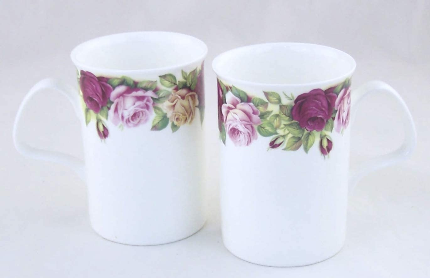 PAIR Fine English Bone China Coffee Tea Mugs Cups- Garden Rose Chintz - Yellow Pink and Red Roses - Made in England by Roy Kirkham Fine China