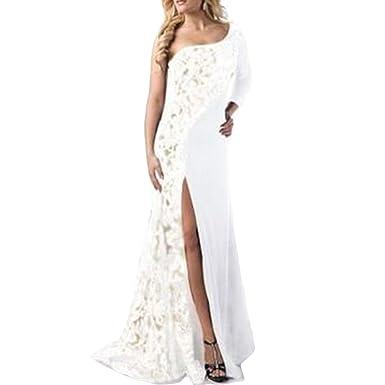 990e31d9d6fd Women One Shoulder Lace Patchwork Long Sleeve High Split Evening Elegant  Gown Maxi Dress (Color