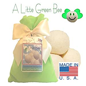 Three Eco-friendly 100% Wool Dryer Ball Gift Set -Handmade in USA- Premium Wool from American Farms, Soft, X-large, Natural and Unscented, Small Family Set of 3