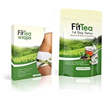 Fit Tea 14 Day Detox Herbal Weight Loss Tea + Fit Tea Body Detox Wraps - Natural Weight Loss, Body Cleanse and Appetite Control. Proven Weight Loss Formula