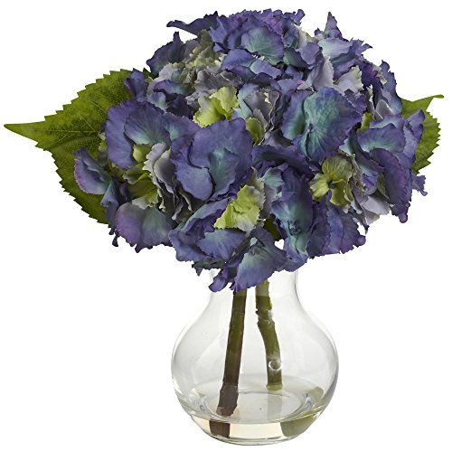 Nearly Natural 1370-BL Blooming Hydrangea with Vase Arrangement, Blue