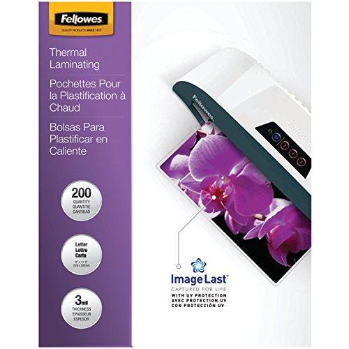 Fellowes Thermal Laminating Pouches, ImageLast, Letter Size, 3 Mil, 200 Pack (5244101)