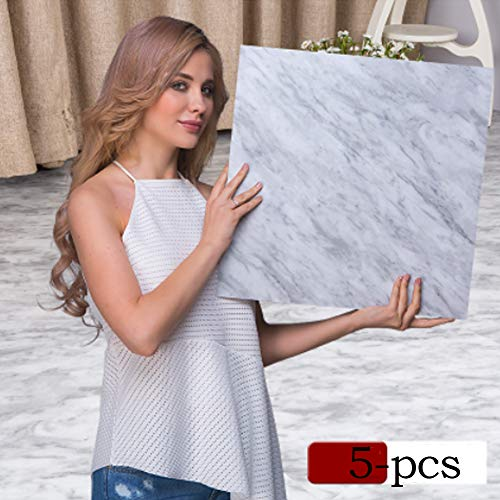 Floor Tiles Self- Adhesive Marble Design Tile Vinyl Flooring Stickers for Livingroom Kitchen Bathroom Decor (Stone)
