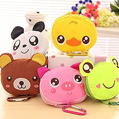 Teanfa New Cute Cartoon Animal Portable Foldable Reusable Eco Grocery Shopping Tote Bag Handbag with Hook