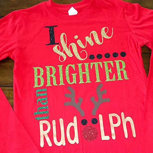 I Shine Brighter than Rudolf Shirt, Cute christmas Shirts, Believe in Christmas Shirt, Cute christmas outfits for kids, Christmas Shirts for Kids, Family Christmas Shirts -