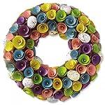 Lillian-Vernon-Wooden-Easter-Wreath-3-deep-14-diameter-Wooden-Flowers-Back-Hanging-Hook-Home-Decor-Door-Wreath