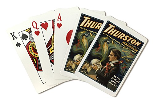 (Thurston the Great Magician Holding Skull Magic - Vintage Theater Advertisement (Playing Card Deck - 52 Card Poker Size with Jokers))
